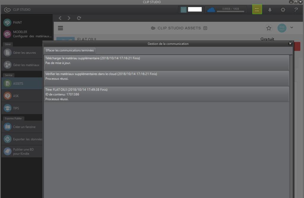 fenêtre de téléchargement de assets dans clip studio paint
